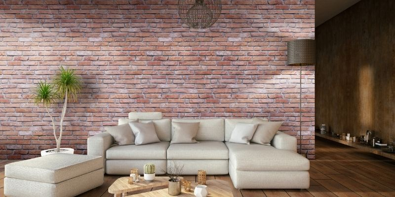 Red brick feature wall