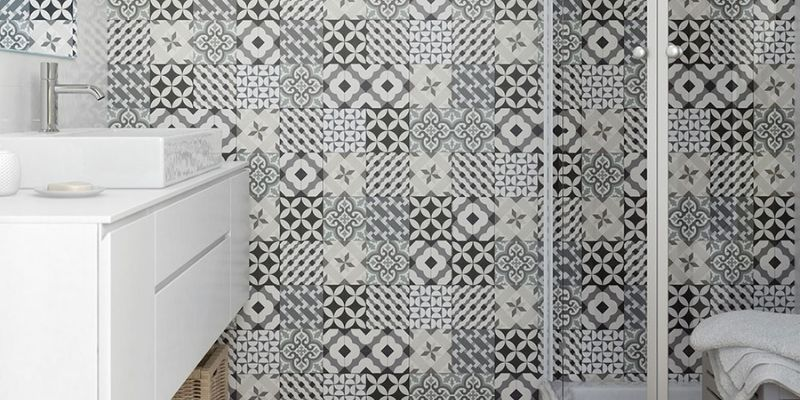 Tile effect feature wall panels