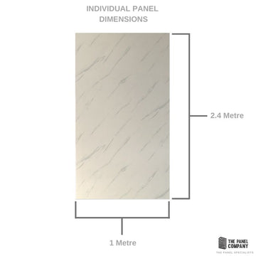 LARGE WHITE CARRARA MARBLE 1.0m X 2.4m SHOWER PANEL