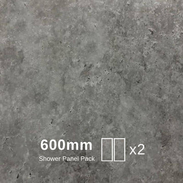 GREY CONCRETE 600mm X 2.4m SHOWER PANEL Pack Of 2