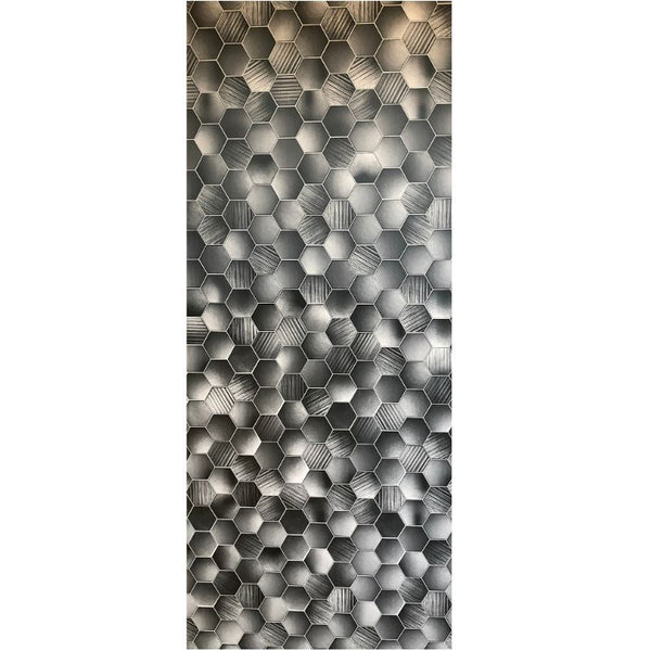 PREMIUM LARGE HEXAGONAL GREY 1.0m X 2.4m SHOWER PANEL