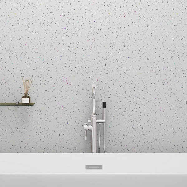 Large platinum white sparkle shower panel