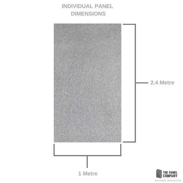 PREMIUM LARGE LIGHT GREY METALLIC 1.0m X 2.4m SHOWER PANEL