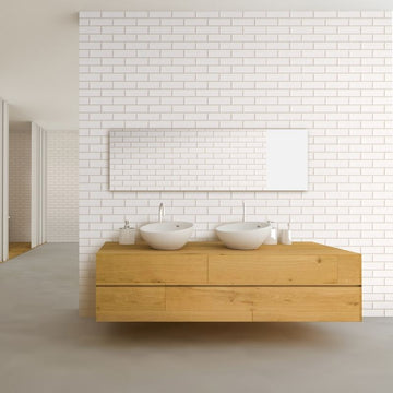 PREMIUM LARGE LONDON WHITE TILE 1.0m X 2.4m SHOWER PANEL