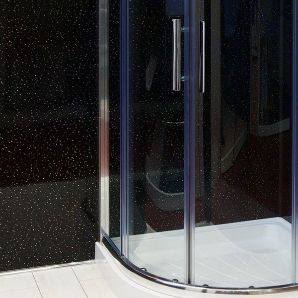LARGE BLACK SPARKLE 1.0m X 2.4m SHOWER PANEL