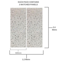 WHITE PLATINUM SPARKLE 600mm X 2.4m SHOWER PANEL Pack Of 2