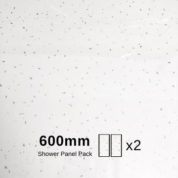 WHITE ARTIC SPARKLE 600mm X 2.4m SHOWER PANEL Pack Of 2