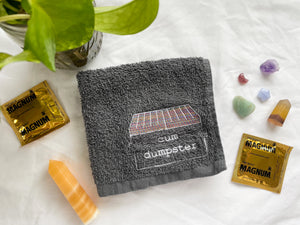 cum dumpster washcloth (grey)