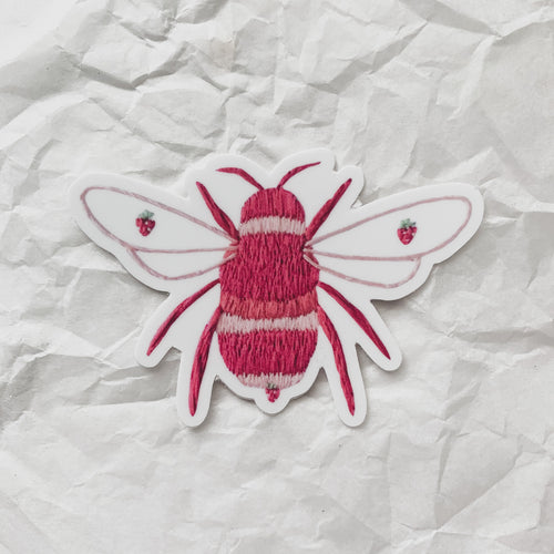 strawberry bee sticker