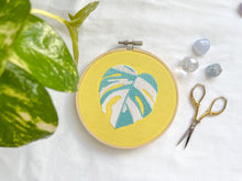 Load image into Gallery viewer, variegated monstera embroidery (pastel yellow fabric)