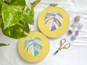 variegated monstera embroidery (pastel yellow fabric)