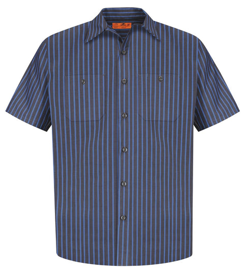Red Kap Long Size, Short Sleeve Striped Industrial Work Shirt. CS20LONG