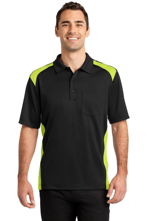 CornerStone Select Snag-Proof Two Way Colorblock Pocket Polo. CS416