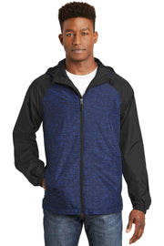 Sport-Tek Heather Colorblock Raglan Hooded Wind Jacket. JST40