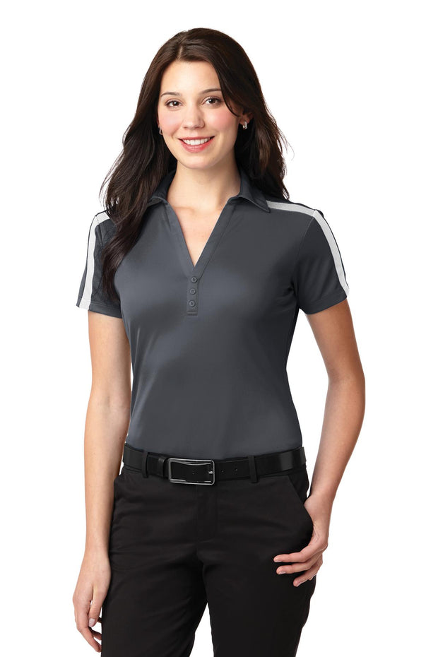 Port Authority Ladies Silk Touch Performance Colorblock Stripe Polo. L547
