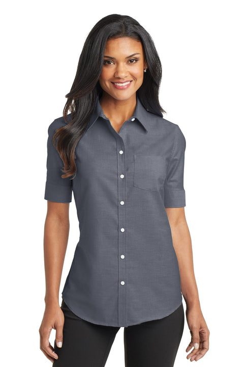 Port Authority Ladies Short Sleeve SuperPro Oxford Shirt. L659