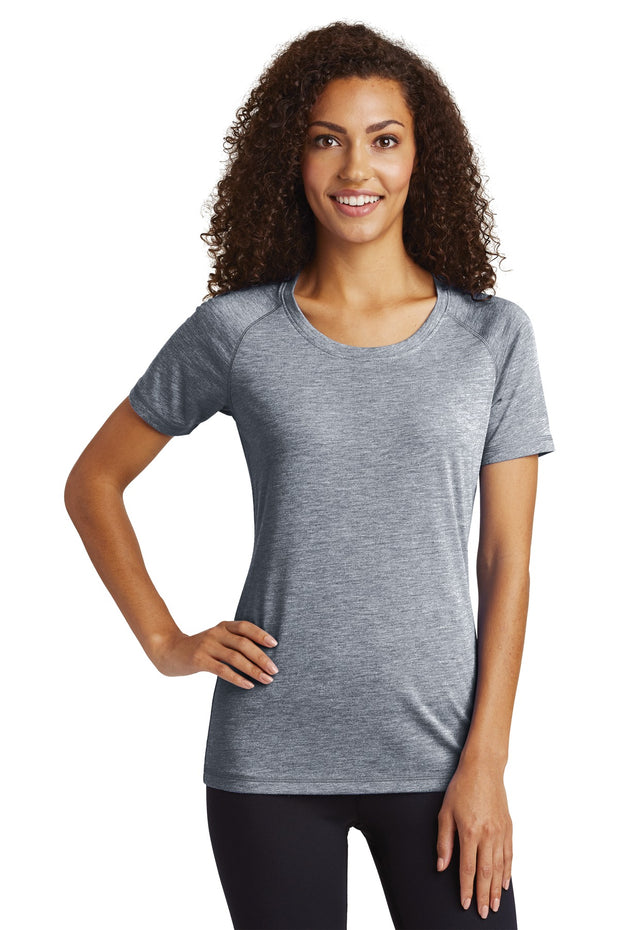 Sport-Tek  Ladies PosiCharge  Tri-Blend Wicking Scoop Neck Raglan Tee. LST400