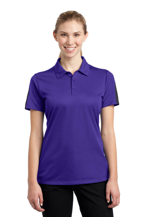 Sport-Tek Ladies PosiCharge Active Textured Colorblock Polo. LST695