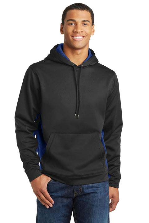 Sport-Tek Sport-Wick CamoHex Fleece Colorblock Hooded Pullover. ST239