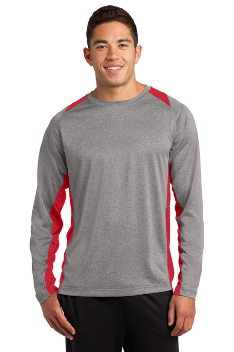 Sport-Tek Long Sleeve Heather Colorblock Contender Tee. ST361LS