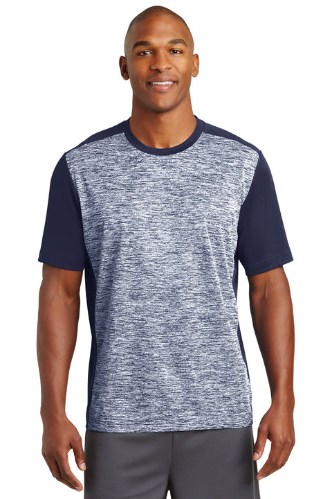 Sport-Tek PosiCharge Electric Heather Colorblock Tee. ST395
