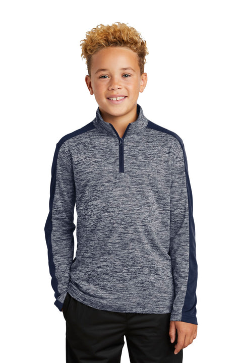 Sport-Tek  Youth PosiCharge  Electric Heather Colorblock 1/4-Zip Pullover. YST397