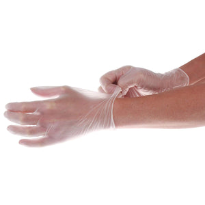 Disposable Powder Free Medical Grade Vinyl Gloves - Clear (Box of 100)