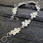 Bipin sterling oak leaf bracelet with seven leaves