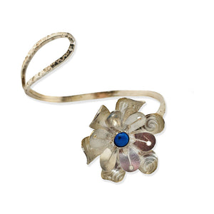 Leotie sterling flower wrap bracelet with turquoise