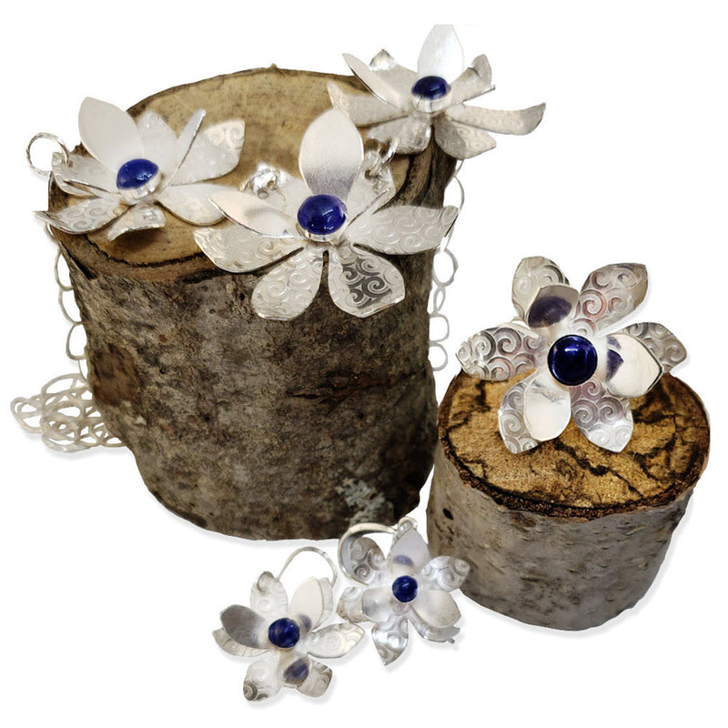 Namid sterling flower collection with lapis