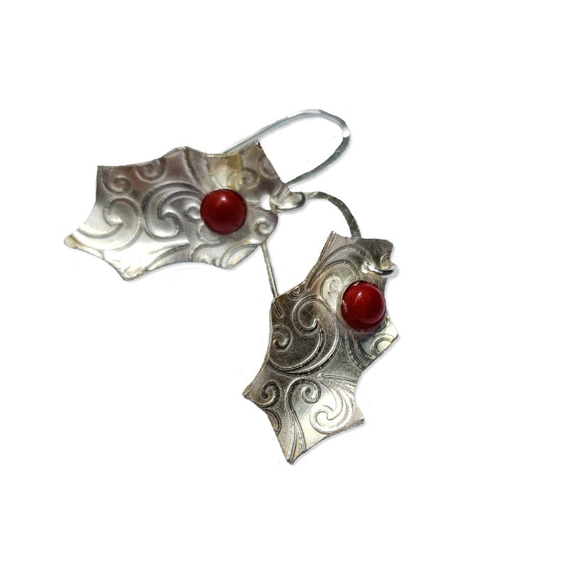 Festive sterling holly earrings with red bamboo coral