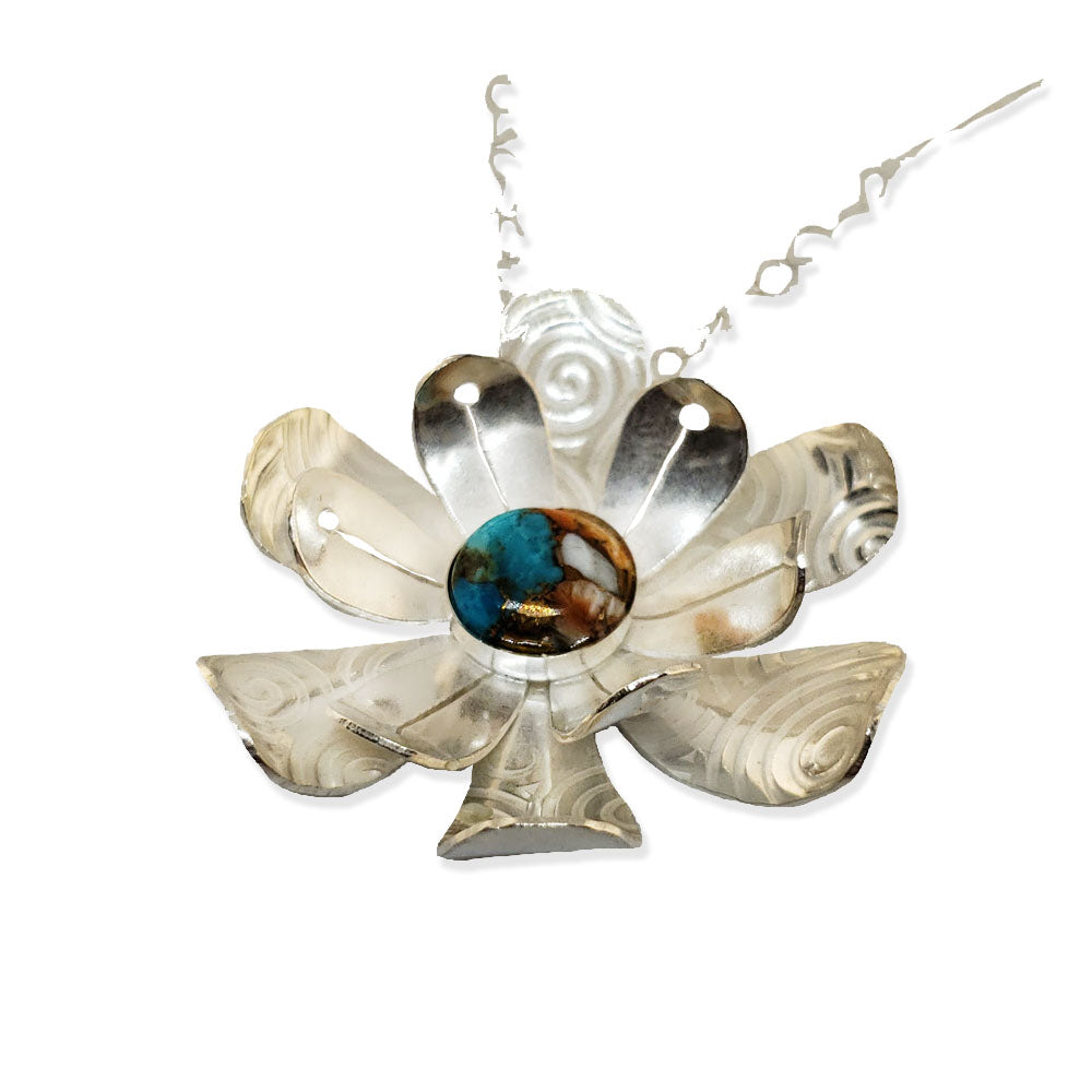 Leotie sterling flower pendant with turquoise