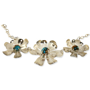 Leotie 3-flower sterling necklace with turquoise