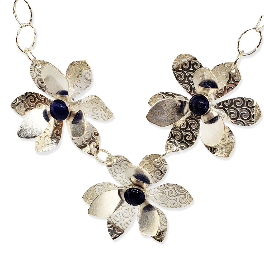 Namid 3-flower sterling necklace with lapis