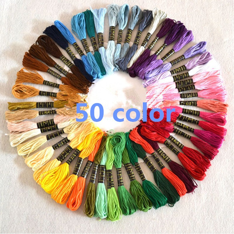 50pcs Mix Colors Cotton Sewing Skeins Cross Stitch Embroidery
