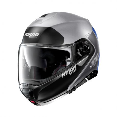 Casco N100-5 Plus Distinctive N-com 30 Plata Mate/Ngo/Azul M