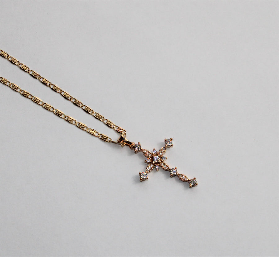 Highly Favored Bejeweled Cross Necklace