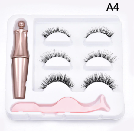 3 Pair Magnetic Lashes Kit with Eyeliner and Tweezers - A4
