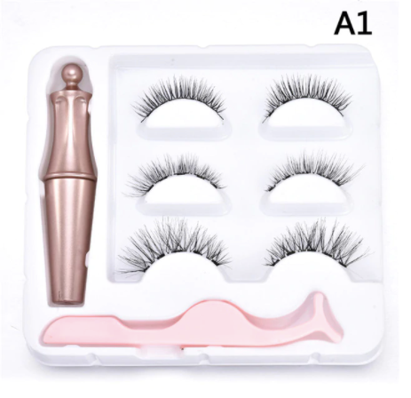 3 Pair Magnetic Lashes Kit with Eyeliner and Tweezers - A1