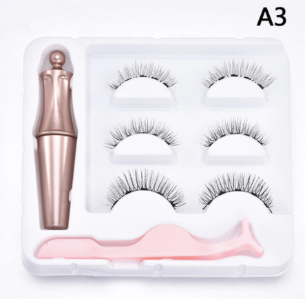 3 Pair Magnetic Lashes Kit with Eyeliner and Tweezers - A3