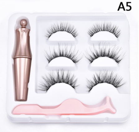 3 Pair Magnetic Lashes Kit with Eyeliner and Tweezers - A5