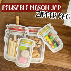 Reusable Mason Jar Zipper Bags (Set of 3/4)