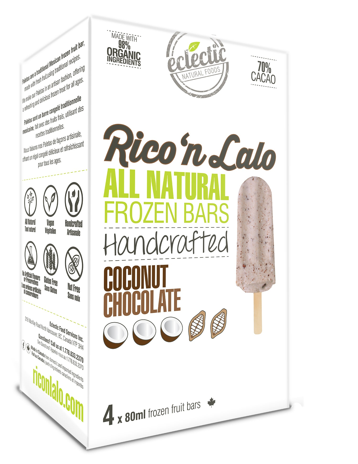 4 Pack Coconut Chocolate Frozen Fruit Bars