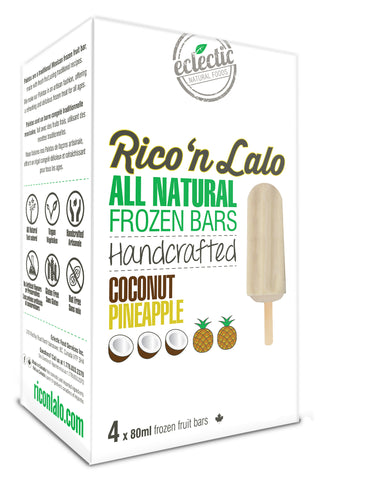 4 Pack Coconut Pineapple Frozen Fruit Bars