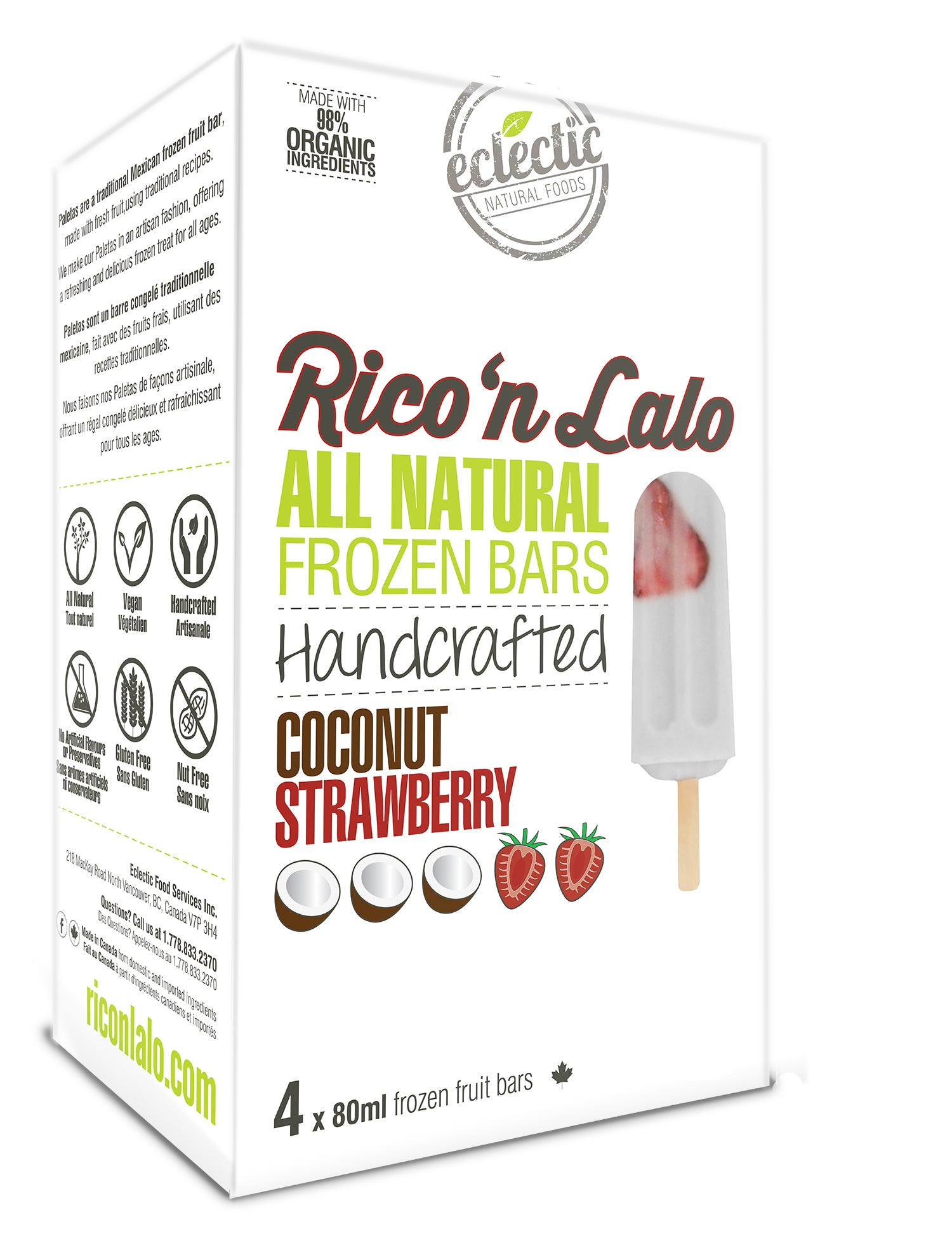 4 Pack Coconut Strawberry Frozen Fruit Bars