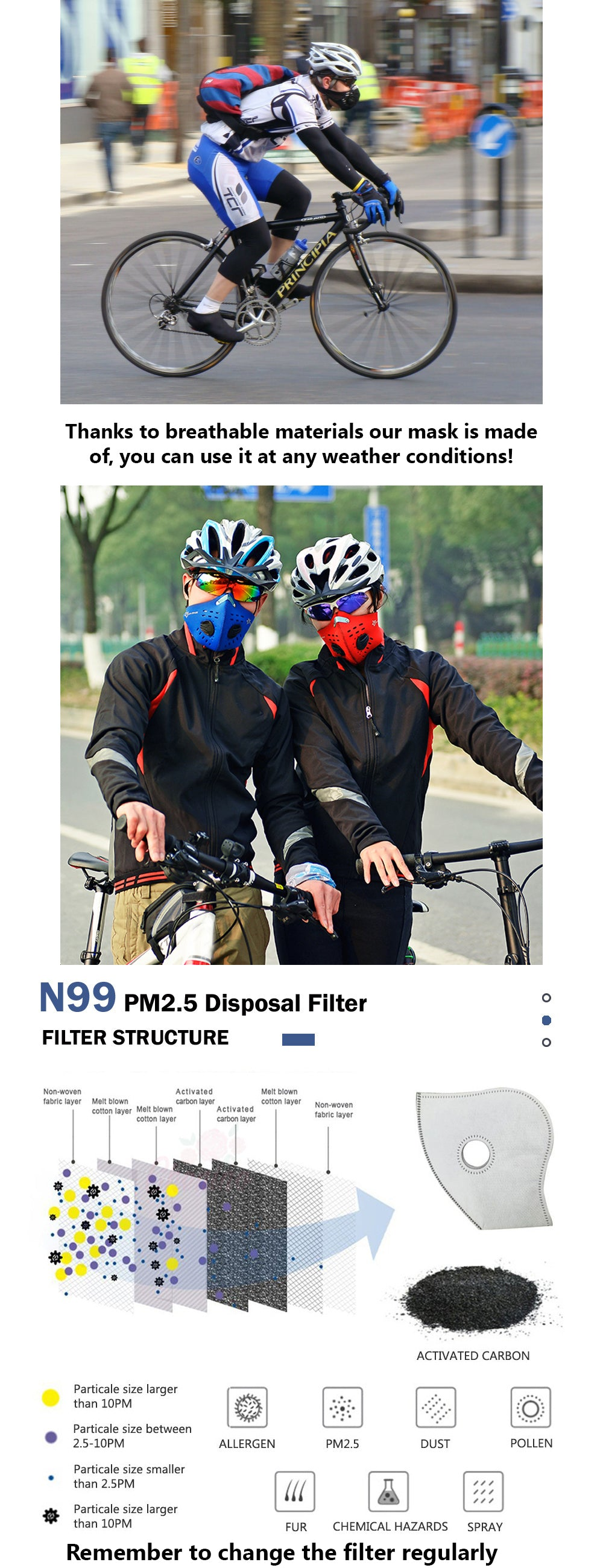 Lightweight, breatheable Anti Pollution Mask with N95/N99 Filter