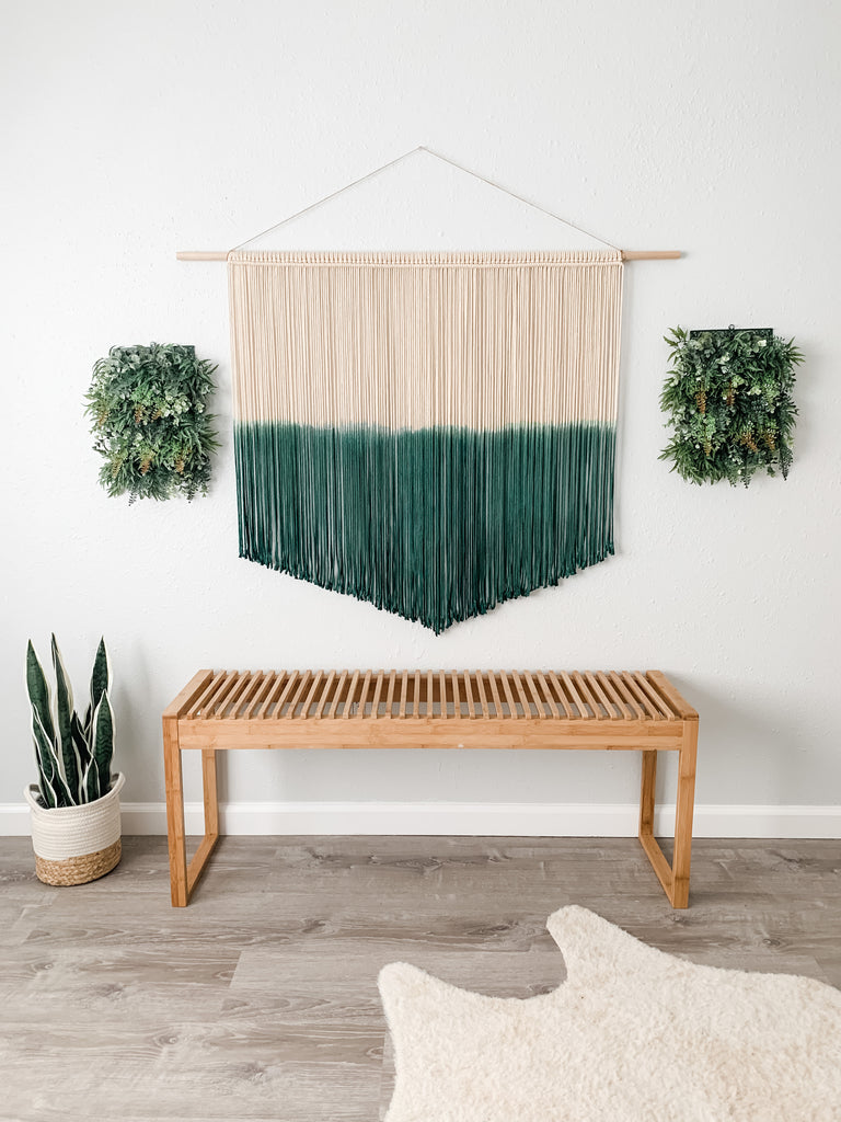 Extra Large Hunter Green Macrame Wall Hanging / Dyed Woven Macrame Wall Hanging / Modern Macrame