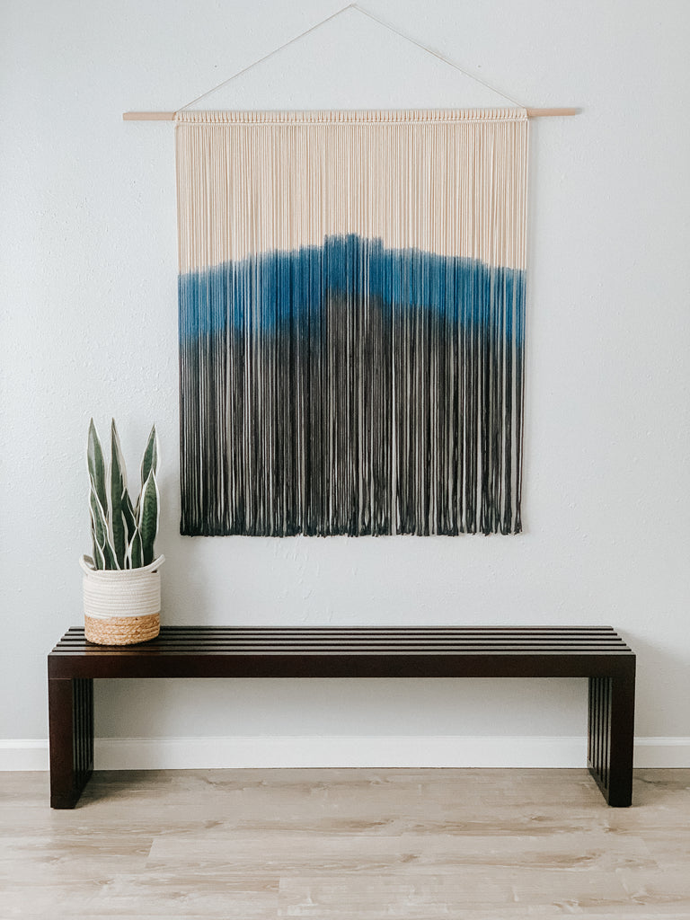 Black and Blue Dyed Large Macrame Wall Hanging, Extra Large Dyed Macrame Wall Art, Large Modern Macrame, Minimalist Macrame