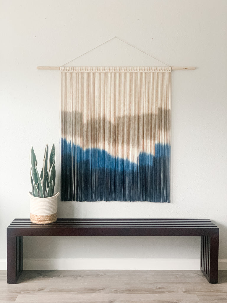 Extra Large Hand Dyed Modern Macrame Wall Hanging / Fiber Art / Boho Decor / Large Blue Macrame Wall Decor / Mid Century Modern Art