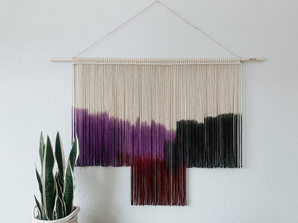 Large Purple Macrame Wall Hanging, Geometric Macrame Wall Art, Boho Decor, Fiber Art Wall Decor, Modern Dyed Macrame